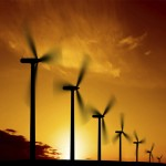 wind farm silhouette at dusk, square frame