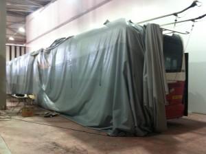 Malatya 2. Sulh Hukuk Mahkemesi'nce yanan trambüs üzerinde keşif yapıldı.