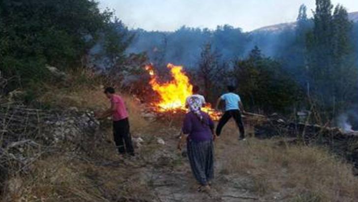 Malatya'da Anız Yangını 3 Bahçeyi Kül Etti