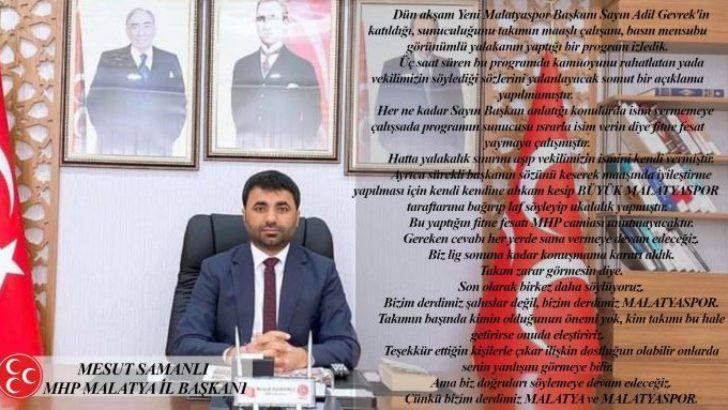 Dün akşam Yeni Malatyaspor Başkanı Sayın Adil Gevrek'in katıldığı, sunuculuğunu takımın maaşlı çalışanı, basın mensubu görünümlü yalakanın yaptığı bir program izledik.