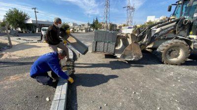 Kemalpaşa Caddesi'nde Kaldırım Döşeme Çalışması